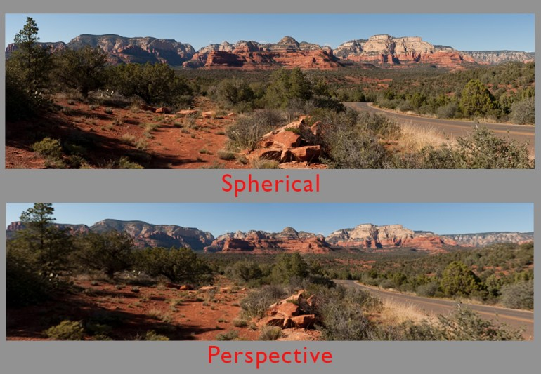 Compare Cylindrical projection to Perspective.