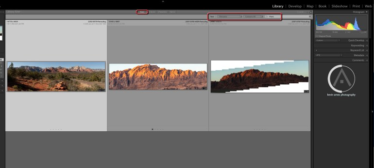 Find all of the panorama using the Text feature in the Metadata bar.