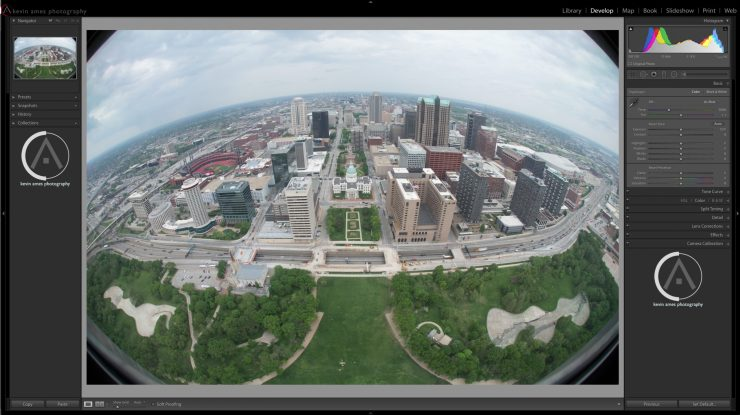 An HDR view of downtown St. Louis, MO. made from the top of the Gateway Arch.