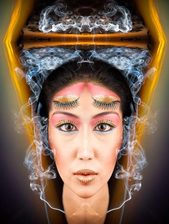 Smoke patterns enhance fantasy portraits.