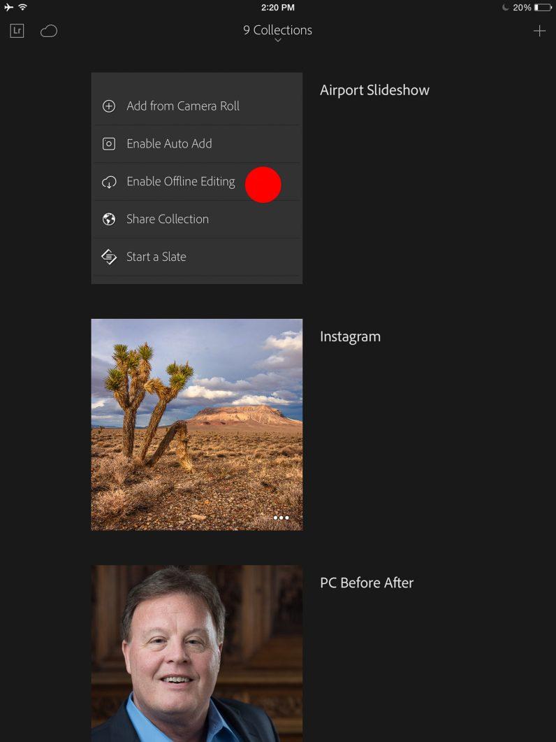 In Lightroom Mobile, choose Enable Offline Editing.