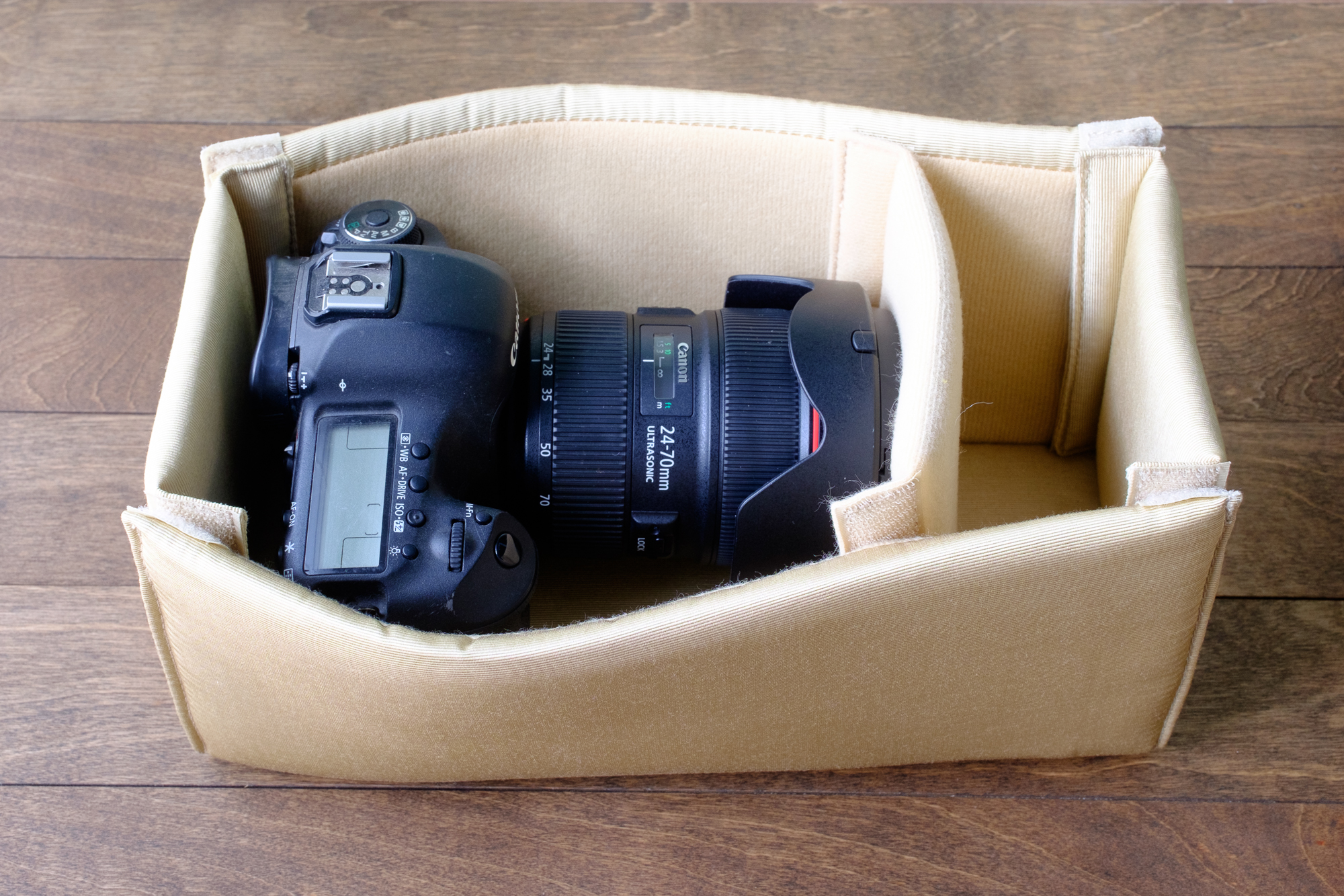 Canon 5D Mark III with Canon 24-70mm lens (attached, set horizontally)