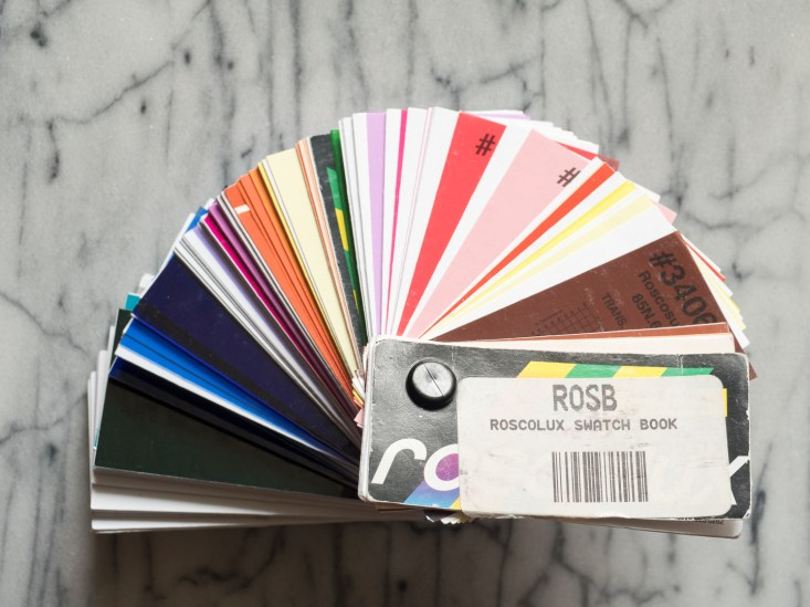 This is the Roscolux Swatch Book; we're lucky that the samples fit speedlights well. This book of 300 gels costs a few dollars.