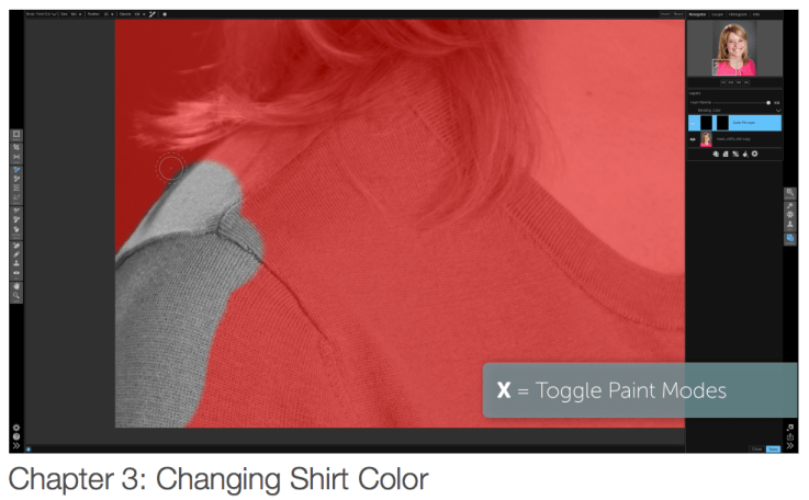 """Learn how to change the color of a shirt with """"The Mask"""" eBook and video tutorials."""