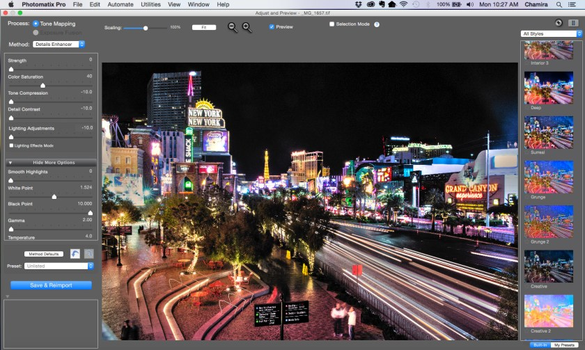 Here is my photo after I made custom adjustments in Photomatix.