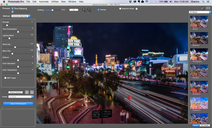 This is the initial default adjustment Photomatix made to my imported photo.