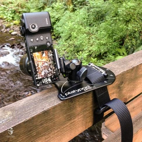 My belt kept Platypod Max secure on a bridge railing at Oswald West State Park.