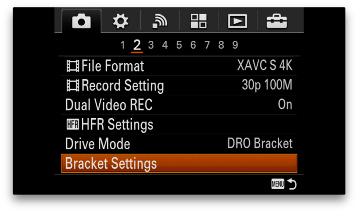 Sony-Menu-BracketSettings