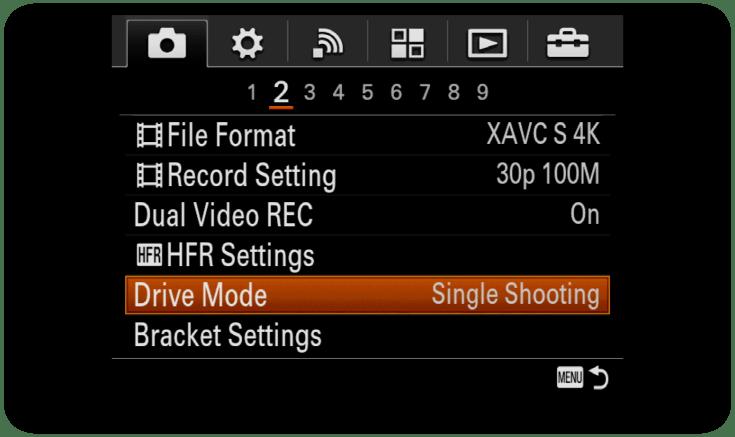 Sony-Menu-DriveMode