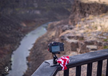 To create this picture, I needed to be as close as possible to the cliffside, so I used a bandana to secure my Platypod Max to the railing at the overlook.