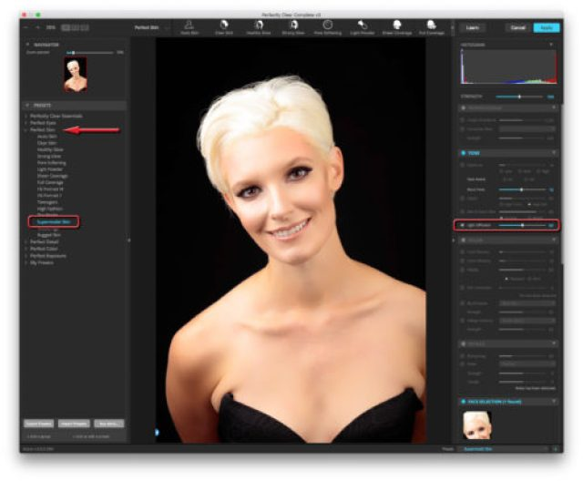Perfectly Clear Compete 3 workspace featuring Perfect Skin, Supermodel Skin and Light Diffusion