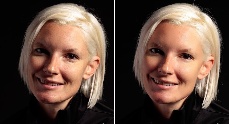 Clean face without makeup compared to the same photo with the Beautify+ preset in Perfectly Clear Complete 3.