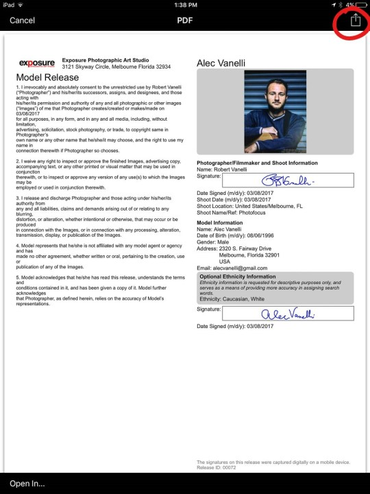 Electronic Model Release Form   Photofocus
