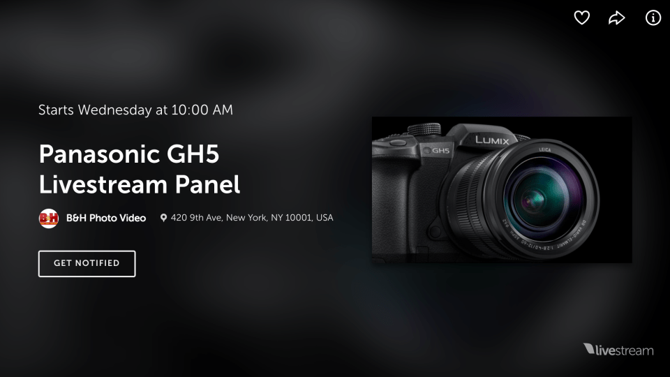 Live Webinar: Lumix GH5 Launch Event