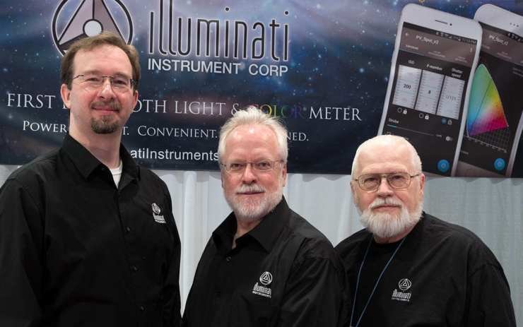 Mike Okincha, Rudy Gutosch & Jim Morton in the Illuminati Instruments booth at NAB 2017