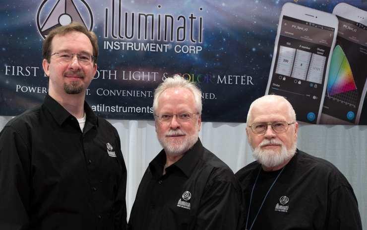 Mike Okincha, Rudy Gutosch & Jim Morton in the Illuminati Instruments booth at NAB 2017