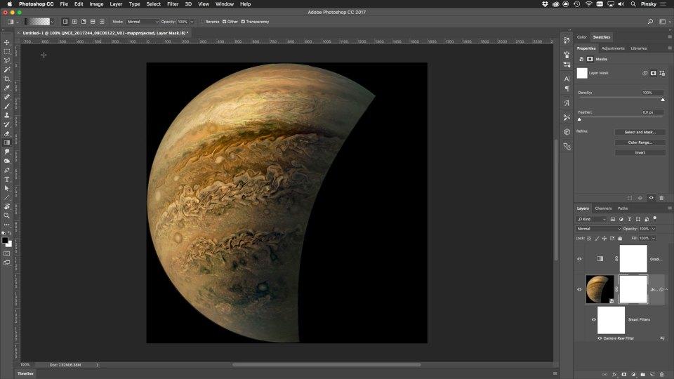 Processing Jupiter in Adobe Photoshop