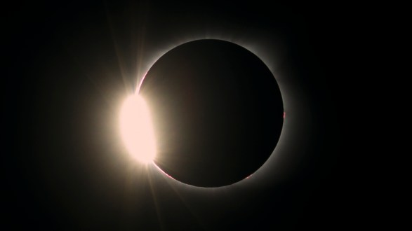 """This photo shows the last glimpse of the sun before totality, referred to as the """"diamond ring""""."""