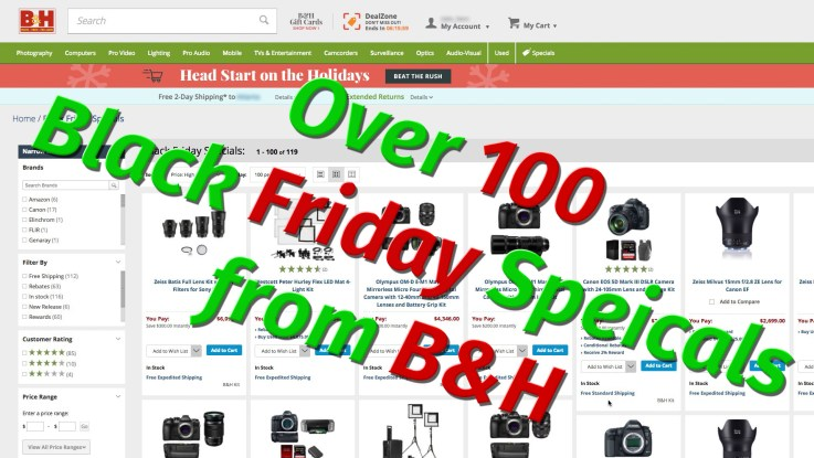 Over 100 Black Friday Specials from B&H