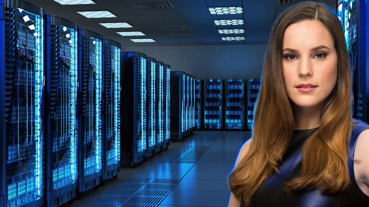 A silicon valley CEO in her company's data center. Composite by Kevin Ames. Background from Adobe Stock.