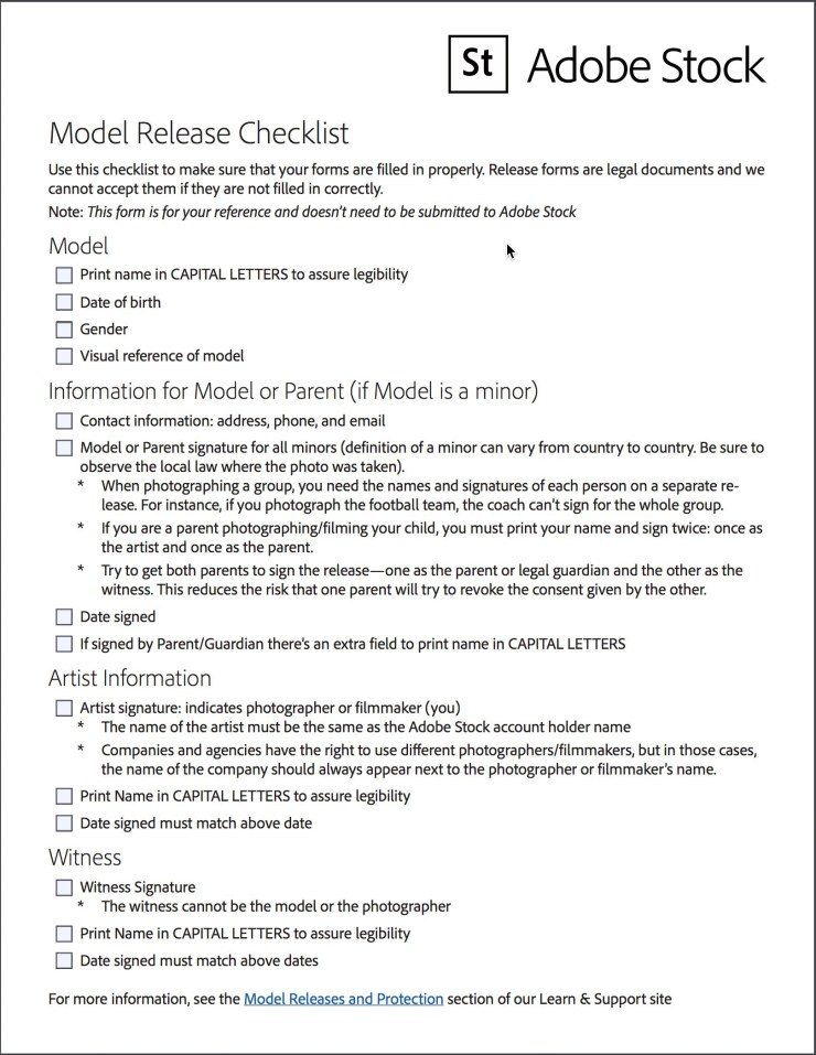 Adobe Stock Model Release Checklist