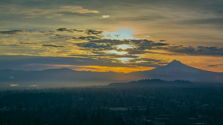 Aerial panorama of sunrise over Mt. Hood on a cold winter morning in Portland Oregon
