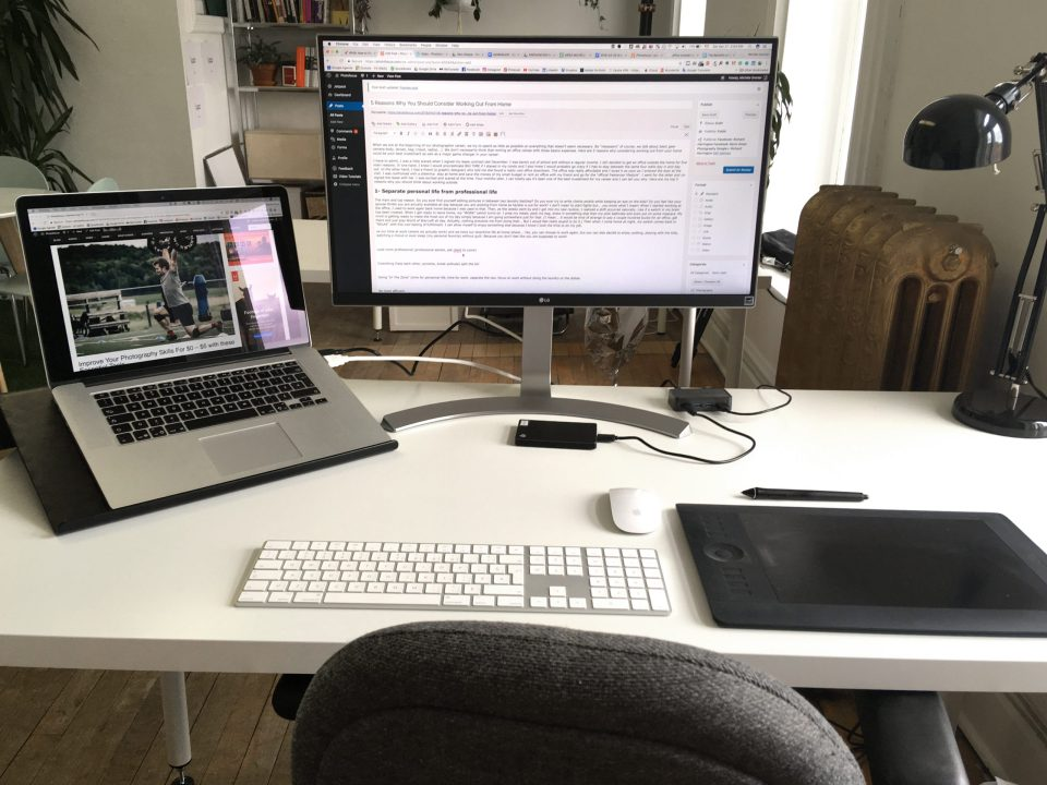 Michèle's workstation in her away-from-home office.