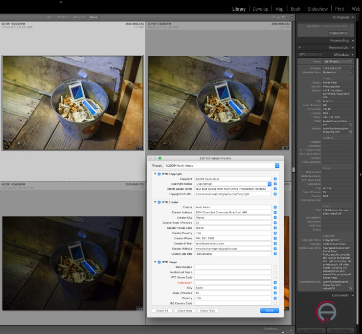 Using templates in Lightroom is the easiest way to add metadata.