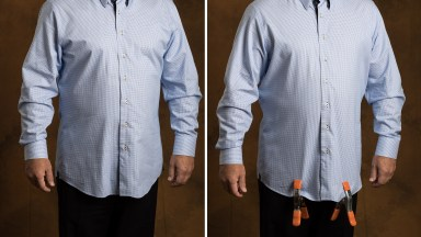 Quick Tip: A clamps pull wrinkles out of shirts.