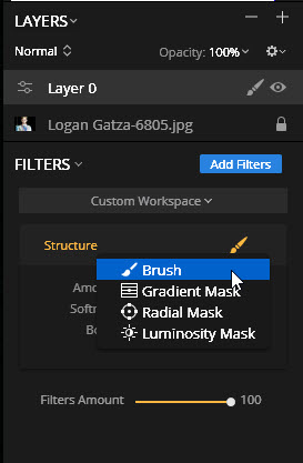 Structure filter brush