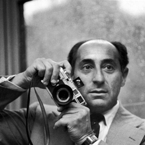 Photographer Alfred Eisenstaedt with on of his Leica cameras