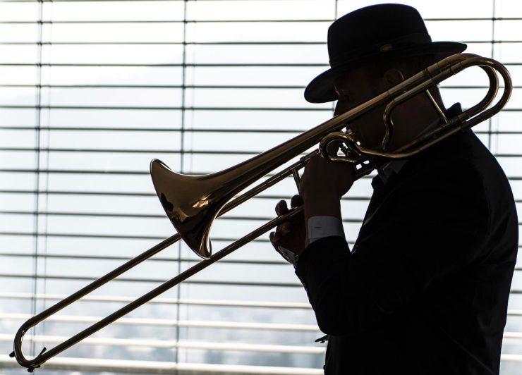 silhouette, musician, trombone, player, black&white