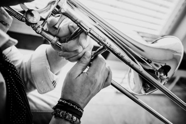 trombone, hands, music, player, brass, black&white