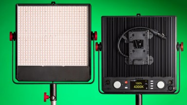 The Luxli Tympani LED light front and back views.