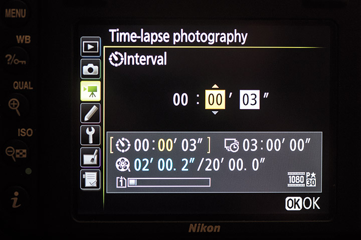 Some cameras have time-lapse controls built in like this example for Nikon