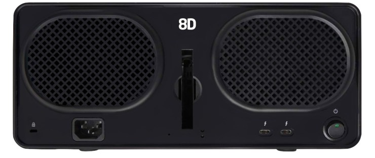 On the flip side of the Drobo 8D.