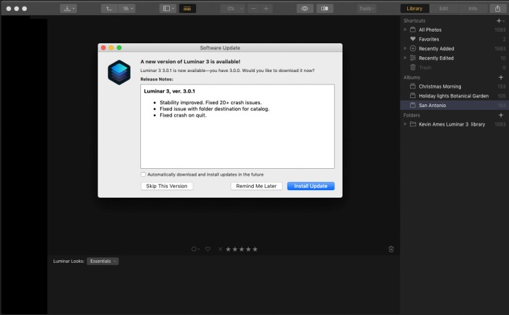 The update dialog in Luminar 3