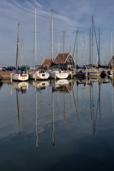 Sailing ships with reflection