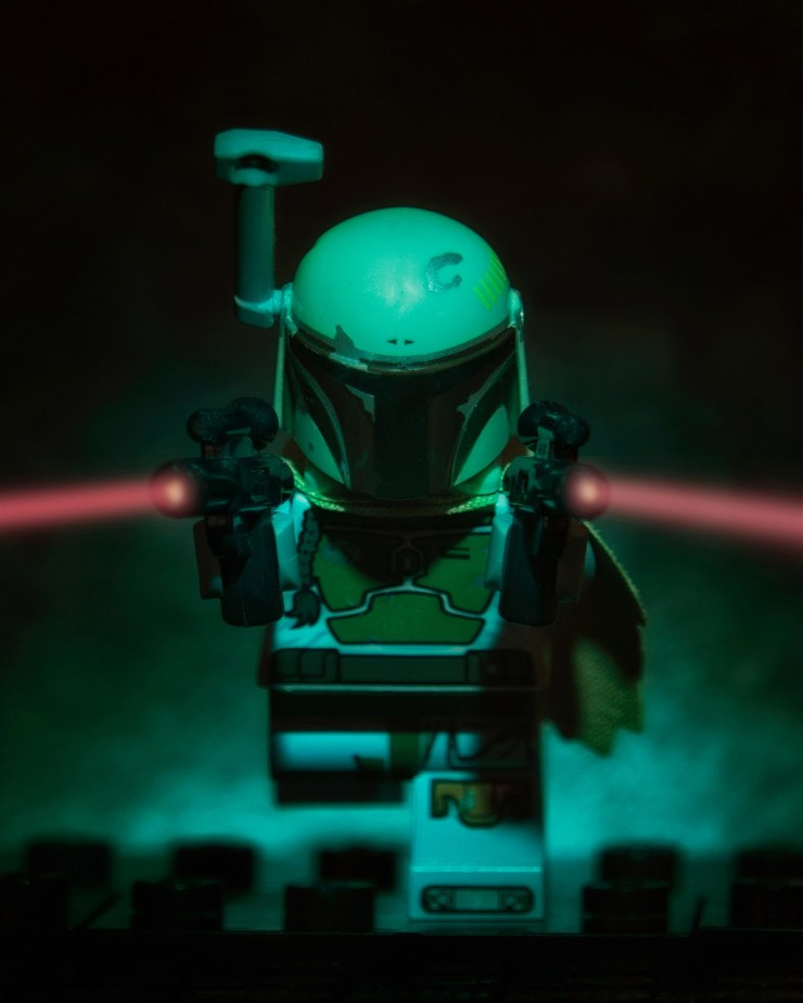 Lego Minifigure Boba Fett charging with weapons blazing!