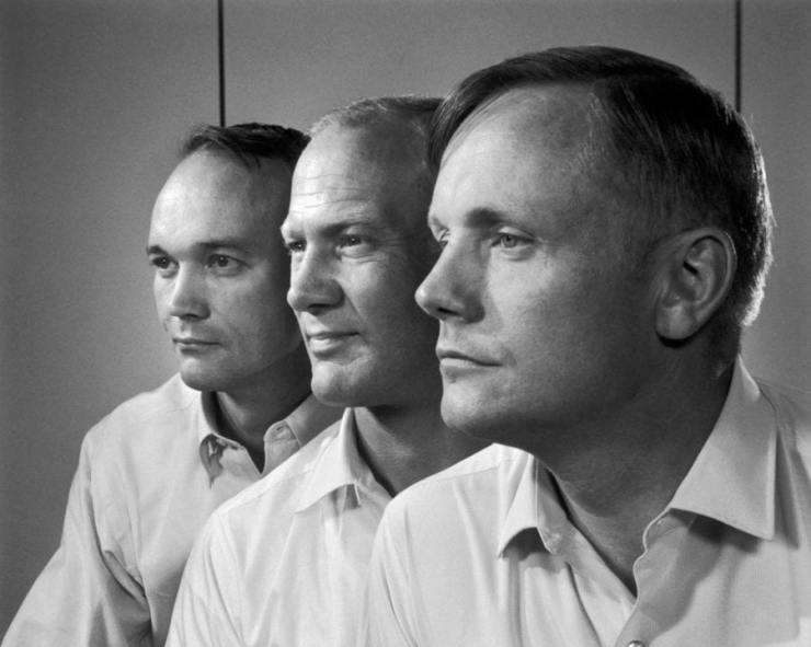 L to R: Apollo 11 astronauts Michael Collins, Buzz Aldrin and Neil Armstrong by Yousuf Karsh 1969