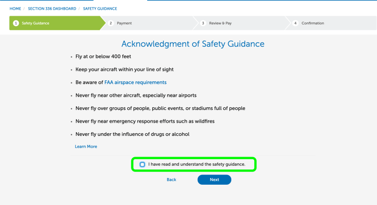 Acknowledgment of Safety Guidance