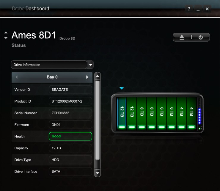 Drobo Dashboard shows what drive is in each of the 8 bays. My 8D is a mix of 12, 8,6 and 4 Tb drives