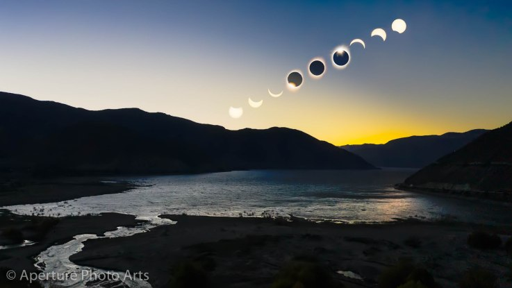 Composite of total solar eclipse over pisco vineyard Falernia near Vicuña Chile in Elqui Valley July 2 of 2019