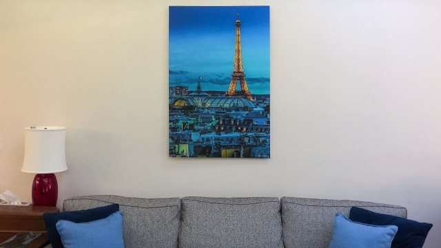 My Xpozer print of the Eiffel tower hangs over my sofa.
