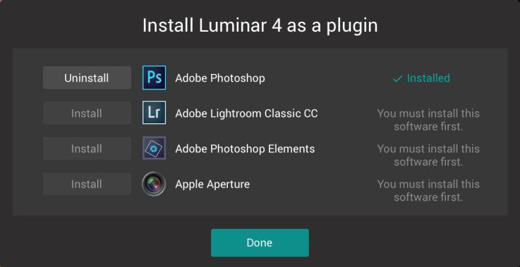 Install Luminar 4 as a plugin