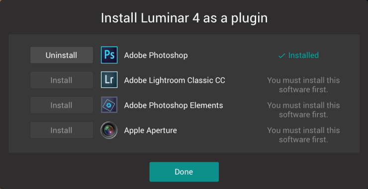 Install Luminar 4 as a plugin