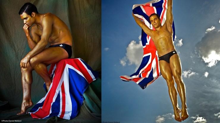 Olympic diver Alexandre Despatie as a golden statue