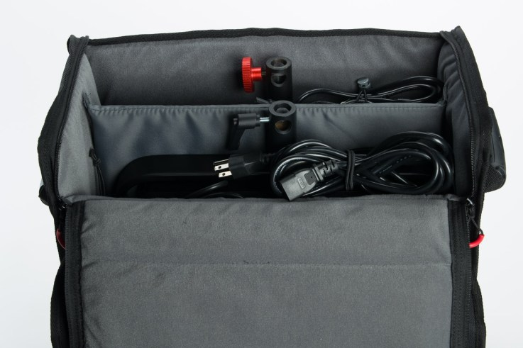 The Luxli Timpani case with 2 1 by 1' LED lights and power bricks