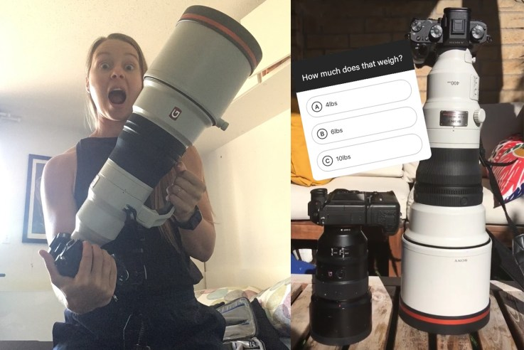 Excited female photographer holding 400mm f/2.8 ready to cover her first international sports event