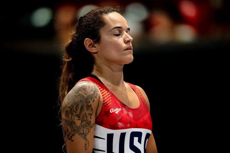 USA female lifter breathes focus before her attempt at World Masters international sports event